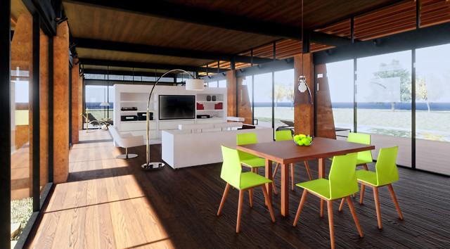 Living room - midcentury modern living room idea in Austin