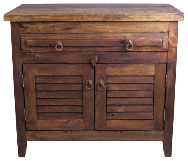 Rustic Bathroom Sinks And Vanities: Barnwood Vanity With Shutter Doors