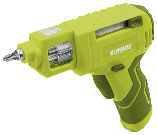 Lithium-Ion Cordless Rechargeable Power Screwdriver With Quick Change Bit System.