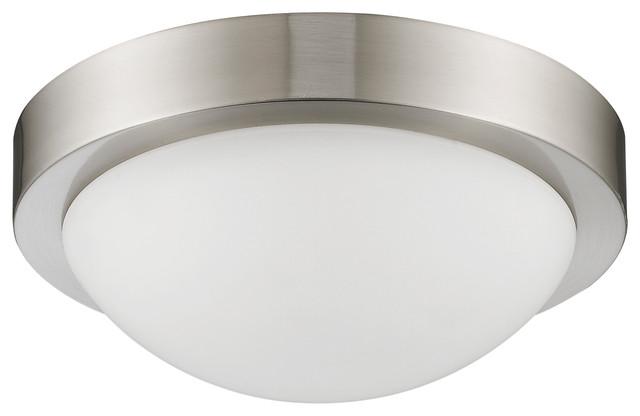 Dom Transitional 2-Light Bushed Nickel Flush-Mount Ceiling Fixture.