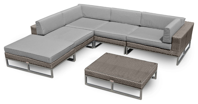 Outdoor Patio Furniture 6-Piece All-Weather Wicker Sofa Sectional.
