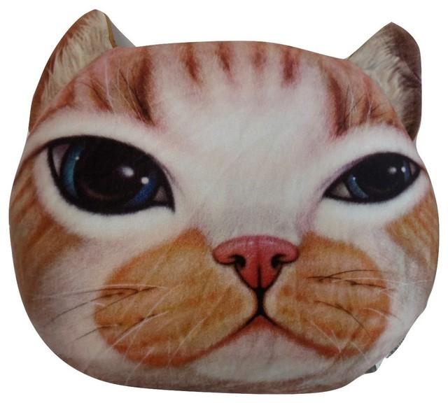 Tache Cute Squishy Soft Cat Microbead Realistic Throw Pillow, Orange Tabby - Decorative Pillows ...