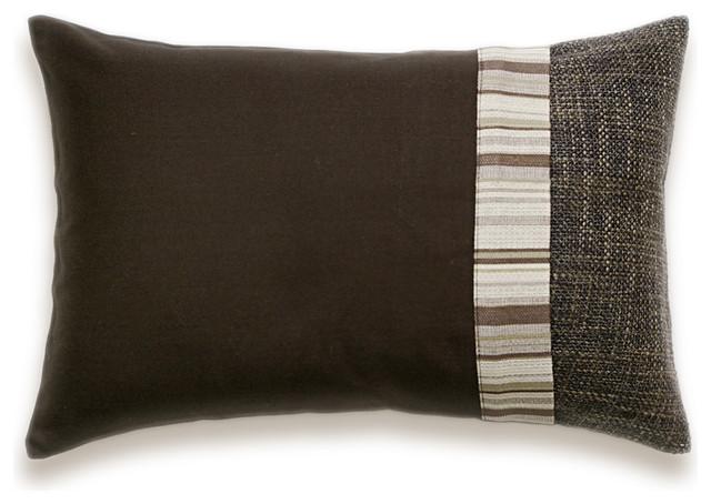 Dark Chocolate Brown Beige Stripe Lumbar Decorative Throw