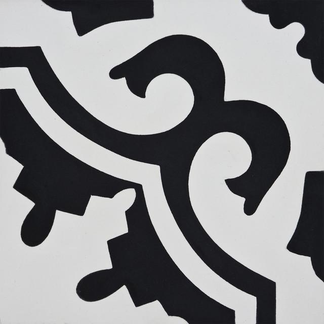 """8""""x8"""" Tanger Handmade Cement Tile, White/Black, Set of 12"""