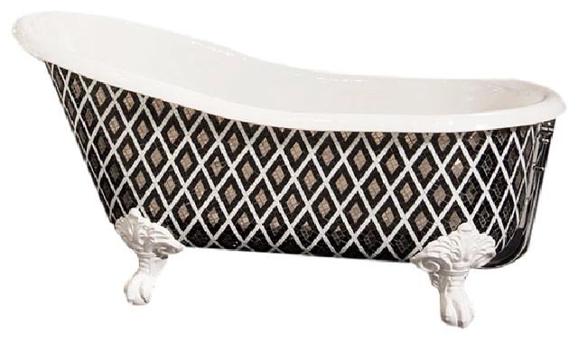 SICIS Bathtub Collection Sultan Custom Tufted Single Slipper Cast Iron Claw Foot