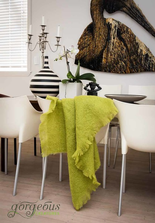 How To Order This Chartreuse Mohair Throw Blanket