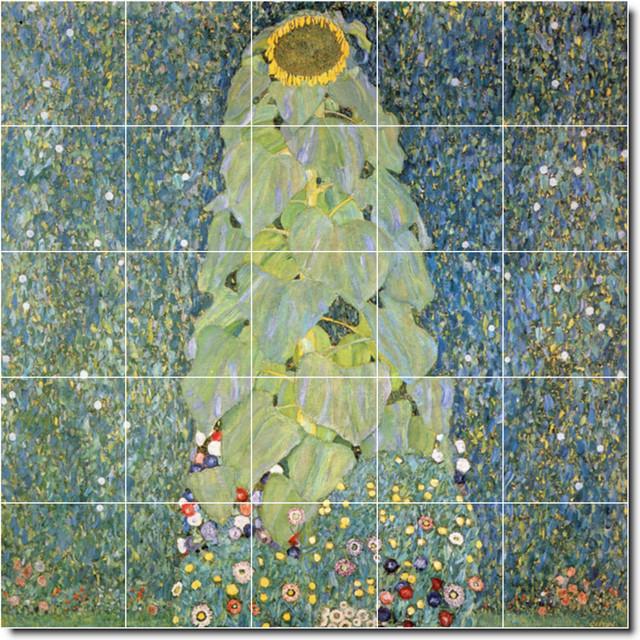 Gustave klimt flowers painting ceramic tile mural 76 for Ceramic mural artists
