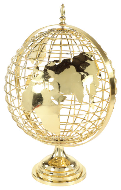 Large Decorative Gold Metal Spinning Globe With Finial Detail