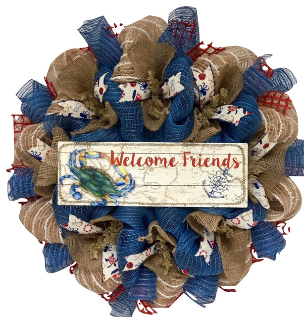 Welcome Friends Nautical Crab Wreath Handmade Deco Mesh.