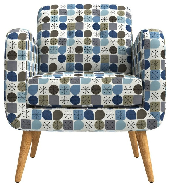 Admirable Kenneth Mid Century Modern Arm Chair Blue Starlight Print Gmtry Best Dining Table And Chair Ideas Images Gmtryco
