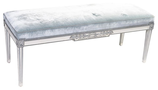 SOLD OUT! Louis XVI Style Pale Blue Mohair Bench - $2,100 Est. Retail - $840 o