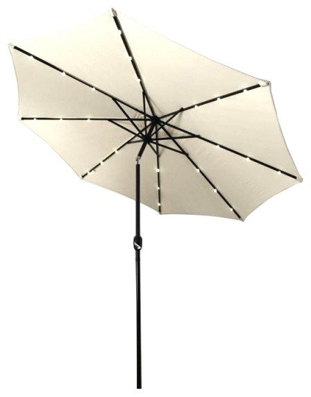 Aleko Lighted Tilting Patio Umbrella, 10&x27;, Beige.