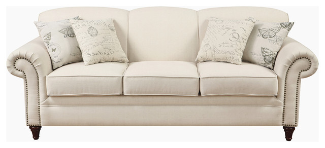 Traditional Cream Oatmeal Linen Fabric Sofa With Nail Head Trim Accent Pillows