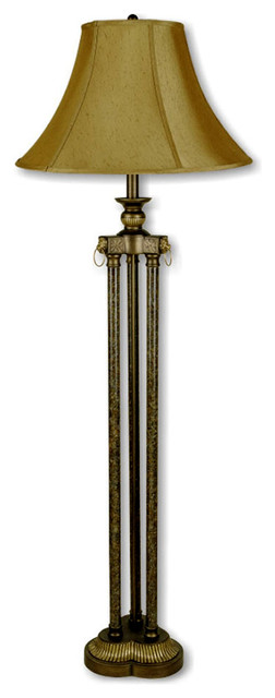3-pillar floor lamp, antique gold - traditional - floor lamps -