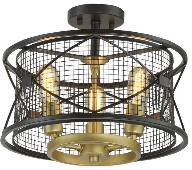 Harlequin 3-Light Semi-Flush Mounts, Warm Bronze And Gold.