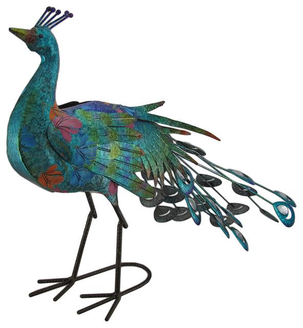 Shop Houzz Zeckos Iridescent Finish Colorful Metal Peacock, Garden Idea