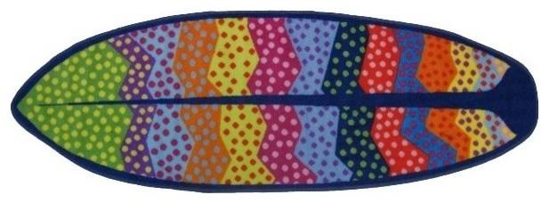 Wavy Ocean Rug, Multi-Color, 19x58.