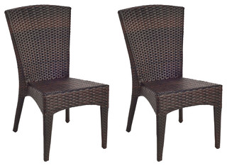 Safavieh New Castle Outdoor Wicker Side Chairs, Set of 2