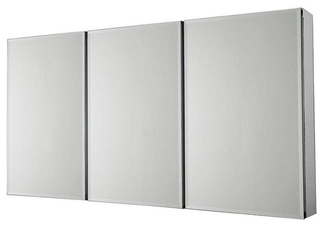 Pegasus 36 in x 31 in recessed or surface mount medicine cabinet in silver contemporary - Modern medicine cabinets recessed ...