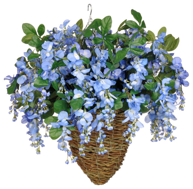 Artificial Periwinkle Blue Wisteria In Beehive Hanging Basket Transitional Flower Arrangements