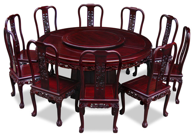 66 Rosewood Imperial Dragon Design Round Dining Table With 10 Chairs Asian Sets By China Furniture And Arts