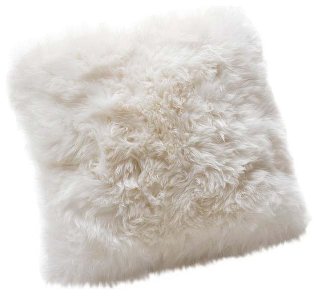 Large New Zealand Sheepskin Cushion, Natural White