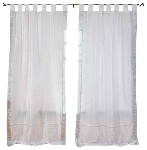 White Silver Tab Top Sheer Sari Curtain Drape And Panel 43x63 Pair Traditional Curtains