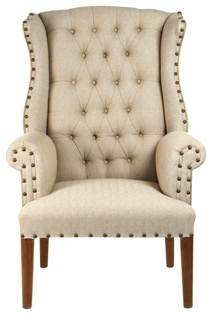 french country nail head tufted adele wing chair