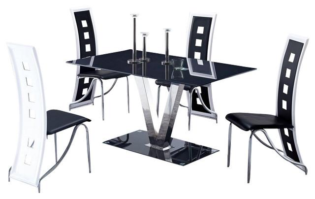 D551DT & D803DC Black & White Five Piece Dining Set - Dining Sets ...
