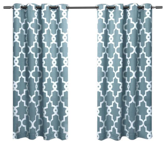 Home Ironwork Sateen Woven Darkening Curtain Panel Pair, Teal, 52x63.
