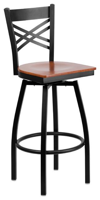 Mfo Black X Back Swivel Metal Bar Stool Cherry Wood Seat