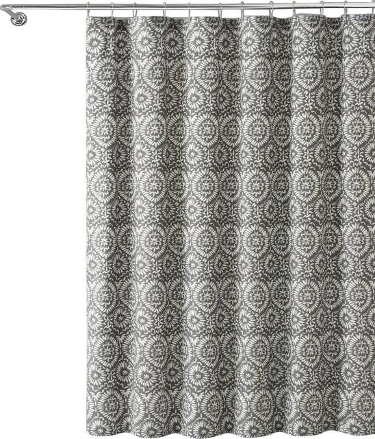 Gray White Ikat Fl Geometric 100 Cotton Fabric Shower Curtain