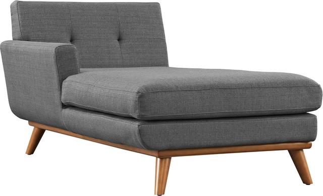 Jayden Left-Facing Upholstered Chaise, Gray