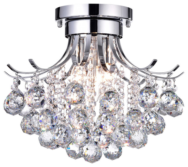 Clarus 3 Light Semi Flush Mount Crystal Chandelier Ceiling Fixture Chrome