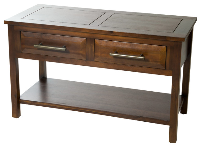 Perfect Glendora Brown Mahogany Solid Wood 2 Drawer Console Table Transitional  Console Tables