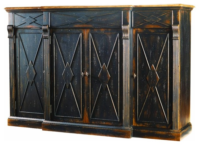 Sanctuary 4-Door 3-Drawer Credenza, Ebony/drift.