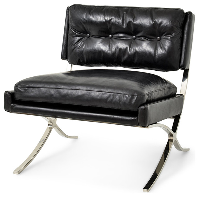 harvey industrial loft brown leather stainless steel lounge chair