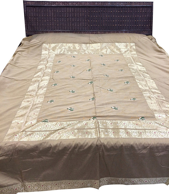Indian Bedding Bedspread King Size, Beige, 5-Pieces