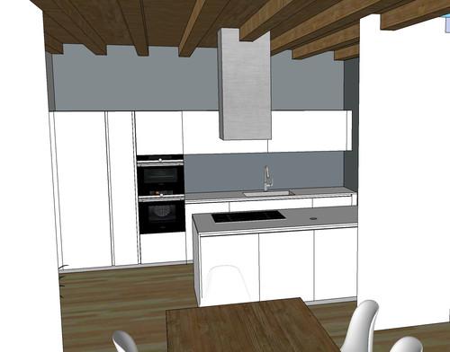 Cappa cucina su soffitto con travi a vista - Cucina con cappa a vista ...