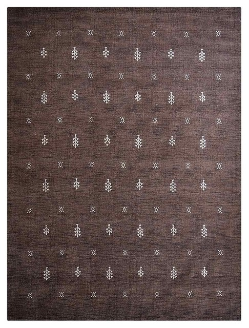 Carpets Hand Knotted Loom Wool Contemporary Area Rug, Brown White, 8&x27;x10&x27;.