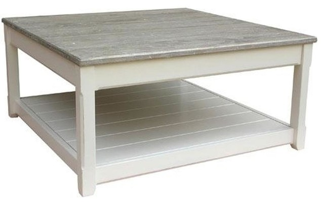 Trade Winds Cottage Coffee Table Traditional Antique Square White Traditional Coffee Tables By Euroluxhome