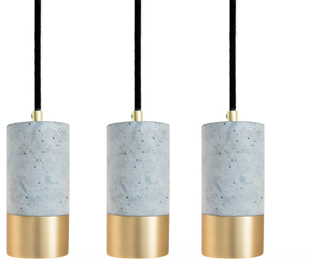 Light Concrete and Brushed Brass Pendant Lights, Set of 3