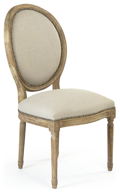 Medallion Side Dining Chair Linen On Wood With Nailheads