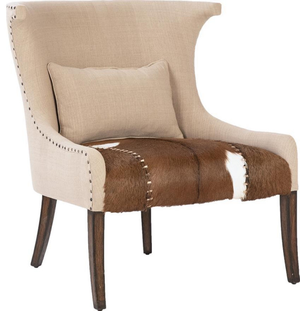 Occasional Chair Brown Goat Hide Linen Old