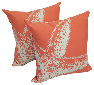 """17"""" Outdoor Throw Pillows, Set of 2, Coral Starfish"""