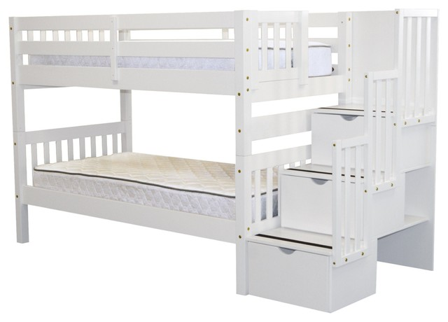 Bedz King Bunk Beds Twin Over Twin Stairway With 3 Step Drawers, White.