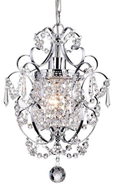 Amorette 1 Light Chrome Glam Lighting Mini Pendant Chandelier With Crystals