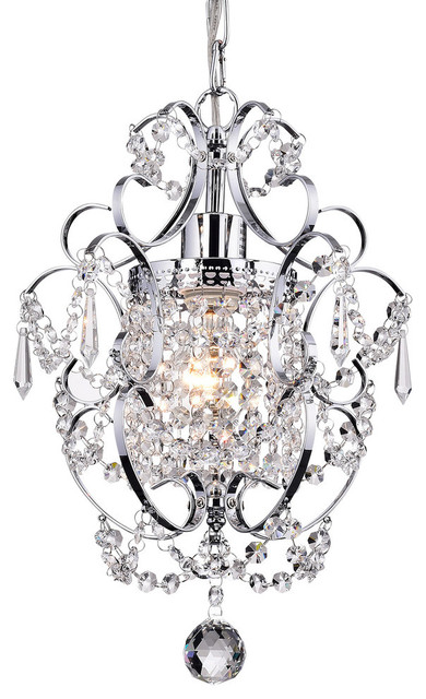 Amorette 1-Light Chrome Glam Lighting Mini Pendant Chandelier With Crystals
