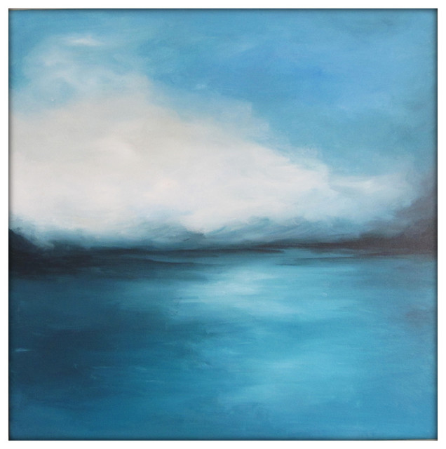 Large Abstract Painting On Canvas Modern Acrylic Skyline 36x36 Blue And Gray