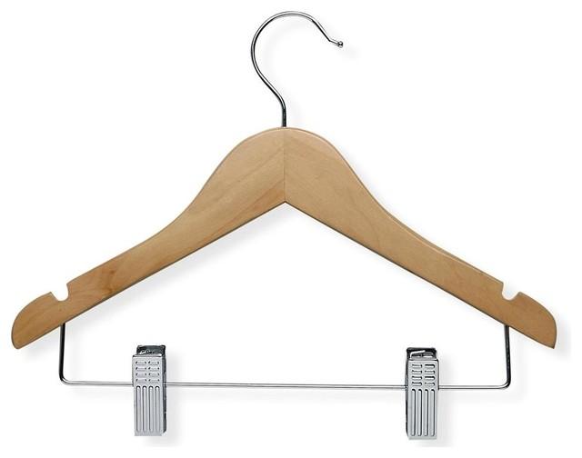 10 Pack Kid&x27;s Basic Hanger W Clips, Maple Finish.